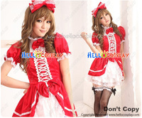 Angel Feather Bow Costume Red White Dress Cosplay Outfit H008