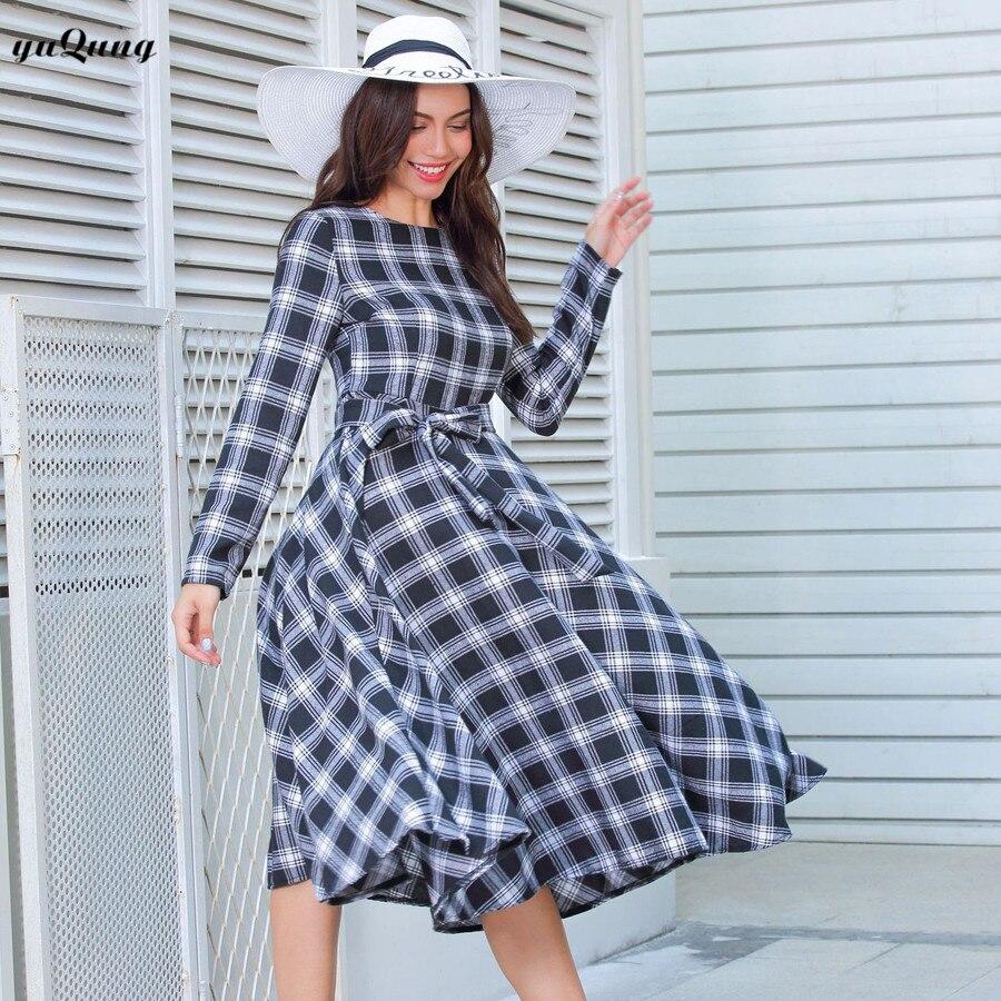 Aliexpress.com : Buy yuqung Women autumn Retro Vintage Dress Long ...