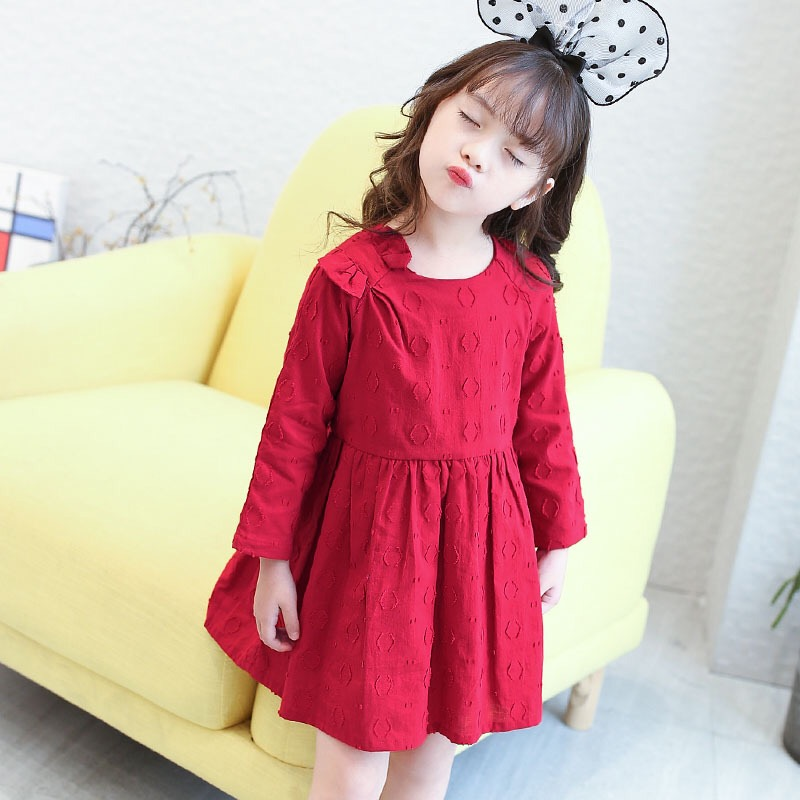 New 2017 Autumn Girls Cotton Dress Bow Kids Long Sleeve Dress Children O-neck Dress Baby Dress Toddler Clothes,3-8Y,#2230 оправа mcq alexander mcqueen mcq alexander mcqueen mc010dwzhn65