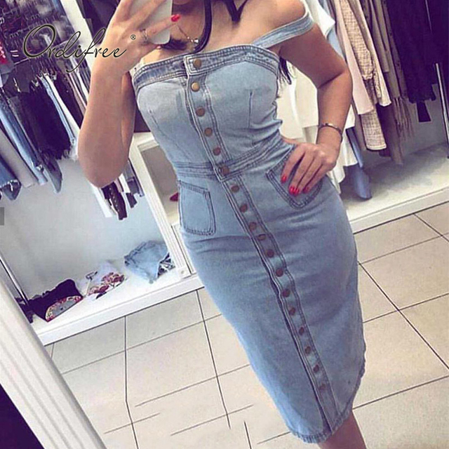 822d84a9596 Ordifree 2019 Summer Women Denim Dress Sundress Cotton Sarafan Overall Dress  Vintage Blue Casual Sexy Bodycon