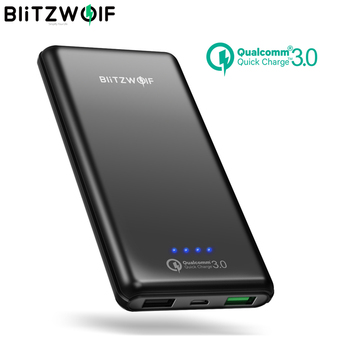 BlitzWolf 10000mAh QC3.0 Power Bank Dual USB Charger 18W Polymer Fast Charger Powerbank External Battery Pack For iPhone X 8 7 usb battery bank charger