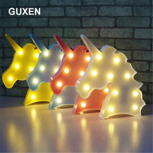 Guxen Led Night Lights Unicorn Party 3D LED Table Lamp Novelty Animal Marquee Sign Letter Lamp Baby Kids Toys Gift Decoration(China)