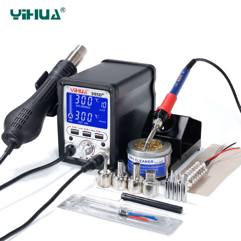 YIHUA 995D+ Lead Free Iron Soldering  Station  With  Hot Air Station Soldering LCD Rework Station quick ts1200a intelligent touch lead free soldering station electric iron 120w anti static soldering iron soldering station