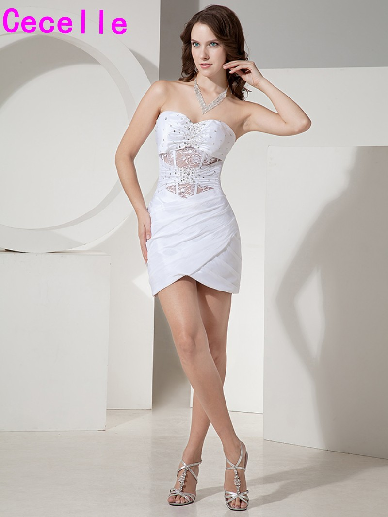 White Short Fitted Mini   Cocktail     Dresses   2019 New With Sweetheart Neck Sheer Waist and Back Sexy Tight Party   Dress   For teens