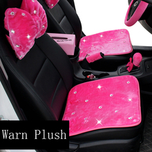 Winter Plush Crystal Diamond Universal Women Girls Car Seat Covers Interior Decoration Pink Front Back Rear