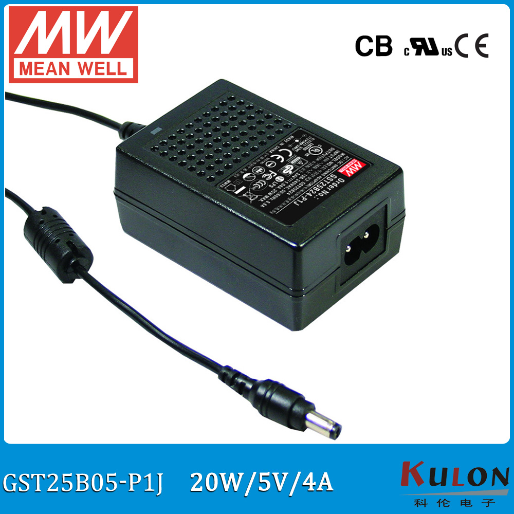 Original Meanwell GST25B05-P1J 20W 5V 4A MEAN WELL desktop Adaptor Level VI Output Interface 5.5mm*2.1mm Power Supply 2 pole bourke a rendall j a lion called christian level 4 2cd