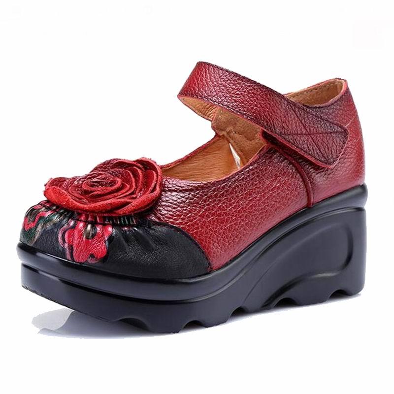 Handmade 2019 ฤดูใบไม้ผลิฤดูใบไม้ร่วง Vintage Vintage ผู้หญิง Wedges หนังแท้รองเท้าผู้หญิงรอบ toe Platform รองเท้าส้นสูงปั๊ม-ใน รองเท้าส้นสูงสตรี จาก รองเท้า บน   3