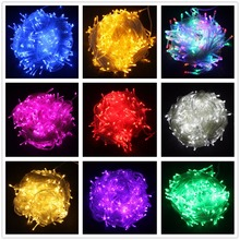 LED-stränglampa 10M 20M 30M 50M 100M AC220V Xmas Holiday Light Vattentät jullampor 9 Färger Dekorationslampa
