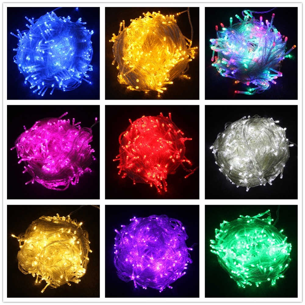 LED String Light 10M 20M 30M 50M 100M AC220V Xmas Holiday Light Waterproof Christmas Lights 9 Colors Decoration Lamp