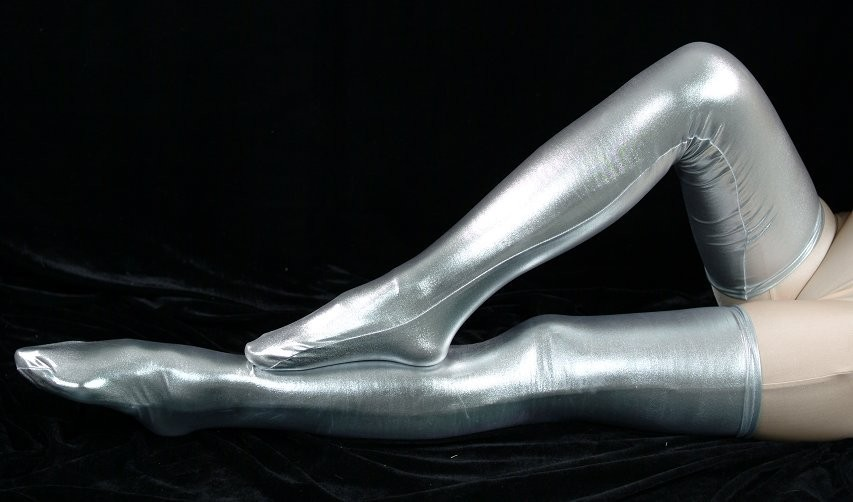 c7113c9a3d9 Woman silver shiny metallic sexy thigh high socks fetish unisex zentai suit  classic halloween costumes-in Zentai from Novelty   Special Use on ...