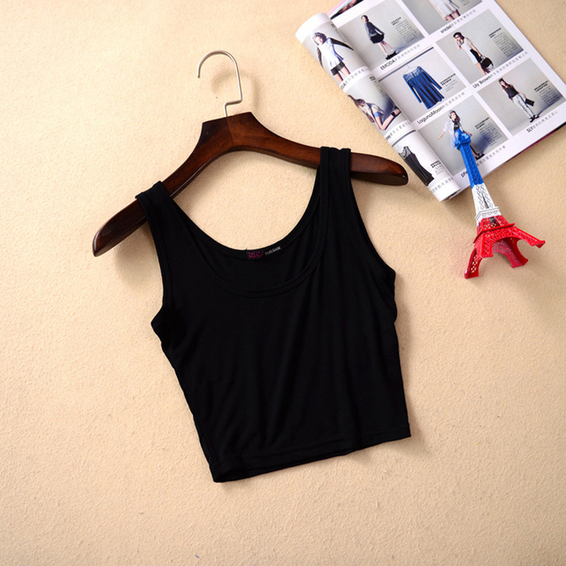 Mileegirl Summer Slim Render Short Top Women Sleeveless U Croptops Tank Tops Solid Black/White Crop Tops Vest Tube Top 7Color