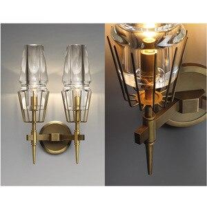 Image 4 - 구리 로프트 북유럽 스타일의 미국 산업 복고풍 예술 유리 간단한 성격 통로 침실 기계 머리 벽 램프 고풍의