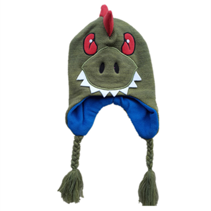 Cute Killer Animals dinosaur Plush Knitting Cotton Hat Novelty Godzilla Cosplay Warm Hat Halloween Party Kids Baby Cap Beanies owl style male baby s organic cotton knitting warm hat w earflaps blue black white green