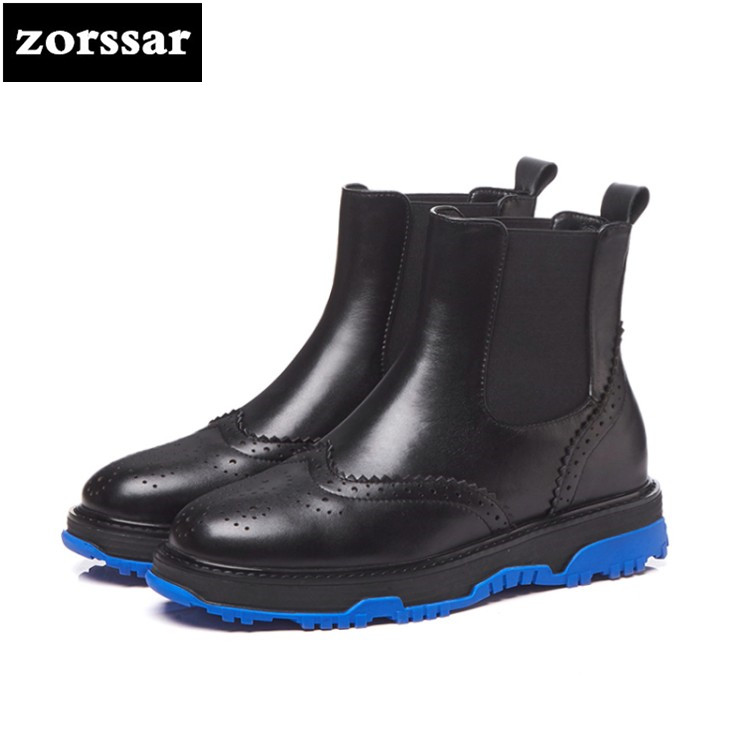 {Zorssar} 2019 Genuine Leather flat Woman Martin boots Fashion Winter plush snow boots Female Ankle Chelsea boots Botas mujer{Zorssar} 2019 Genuine Leather flat Woman Martin boots Fashion Winter plush snow boots Female Ankle Chelsea boots Botas mujer