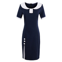 Sisjuly Summer Women Bodycon Dress Spring Dresses Dark Blue Short Sleeve Knee Length Female Dress Girls