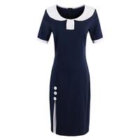 Sisjuly Summer Women Bodycon Dress Spring Dresses Dark Blue Short Sleeve Knee Length Female Dress Girls