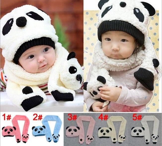 Wholesale Cute Baby Hats+Scarves Set Cartoon Panda Designs Children Woolen Beanie  baby hat Kids Caps baby cap infant hat-in Hats   Caps from Mother   Kids ... debe956ec76