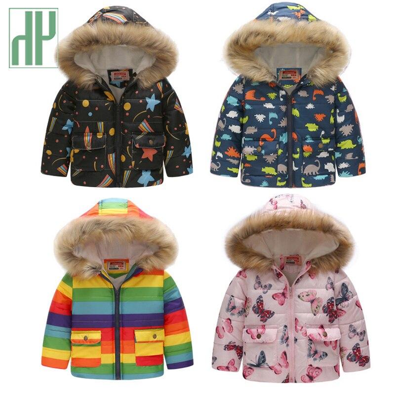 HH Kids winter jacket with fur Hooded dinosaur Printed rainbow children snow jacket Boy Windbreaker Outerwear Girls Parkas Coats
