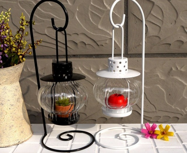 Charming Iron Candle Holder Fashion Hanging Gl Lantern Stand For Wedding And Home Decoration