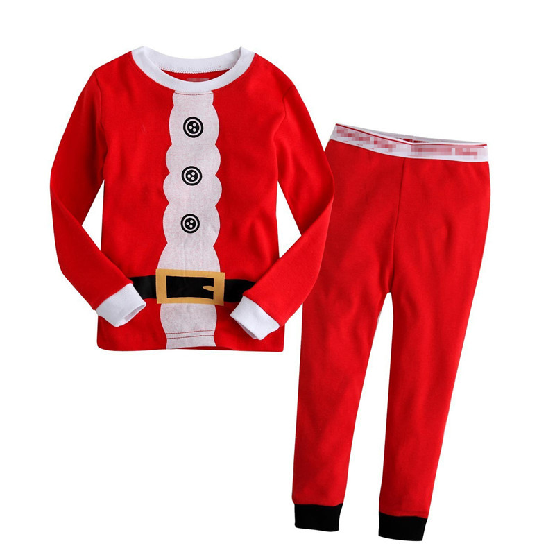 2017 New Christmas Santa Claus Children's Set Long Sleeves Long Pants for baby girls and boys autumn winter pajamas for toddlers