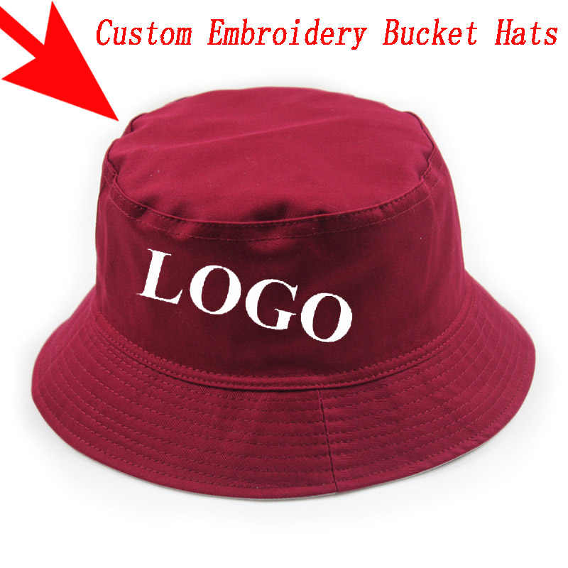 7b77aee2 Custom Personalized Embroidery Bucket Hat Men Women Outdoors Sports Fashion  Casual Cotton Gorras Hats Free Shipping