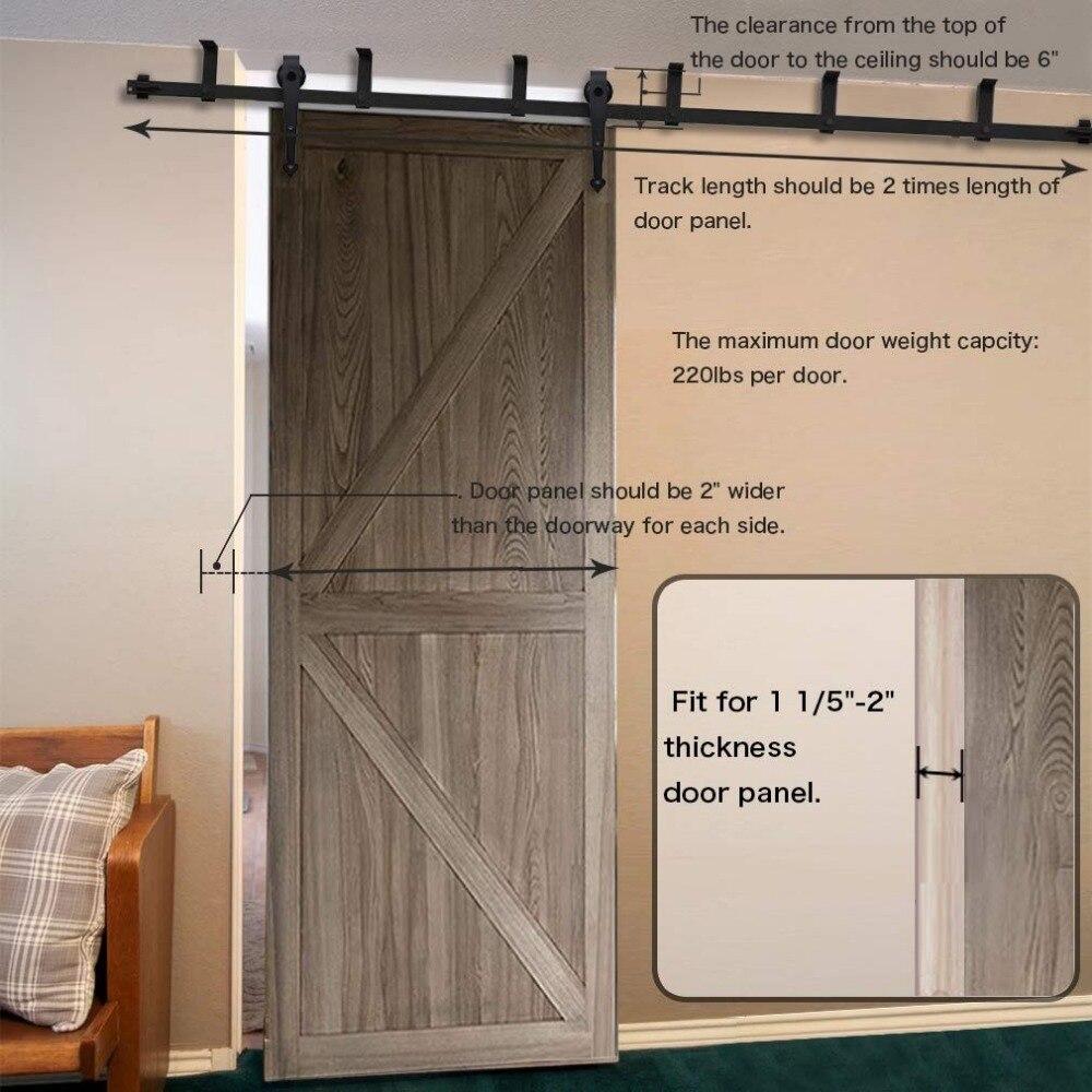 LWZH Ceiling Bracket Mount Sliding Barn Wood Door Hardware Kit 4-20FT Heart Shaped Black Rollers for Interior Sliding Barn Door