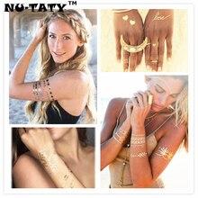 NU-TATY Shiny Gold Temporary Tattoo Body Art 58 Style Metallic Flash Tattoo Sticker 21x15cm Waterproof Fake Henna Tattoo Sticker