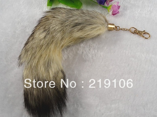 2PC Genuine Fox Fur Tail charm lovely fashion accessory key chain/Hot