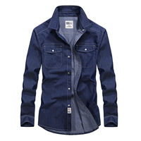 Men S Fit Slim Cowboy Shirts Long Sleeved Cotton Casual Denim Shirt Fashion Design AU70273