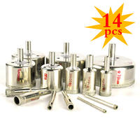 14pc Set Diamond Drill Bit Tile Glass Hole Marble Glass Hole Cutter Ceramic Hole Saw Set