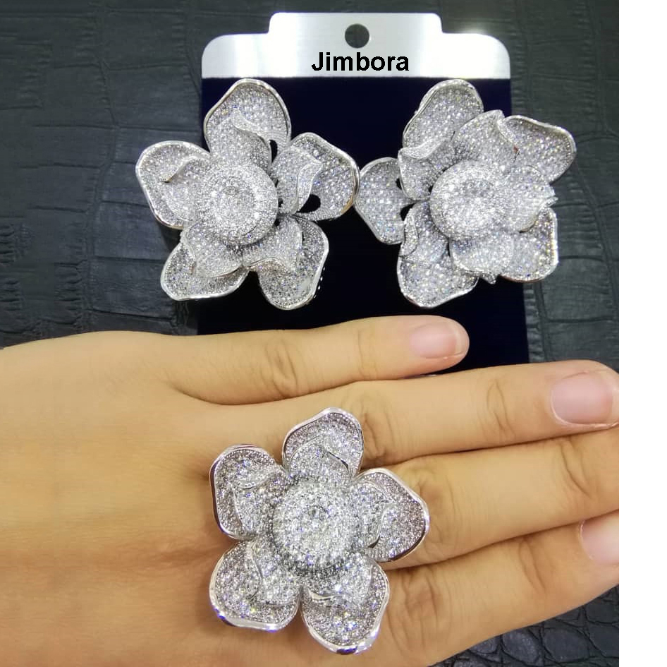 Luxury Blossom Stud Earrings Ring Wedding Jewelry Sets Cubic Zirconia inlaid Bridal fashion jewelry dubai Women AccessoriesLuxury Blossom Stud Earrings Ring Wedding Jewelry Sets Cubic Zirconia inlaid Bridal fashion jewelry dubai Women Accessories