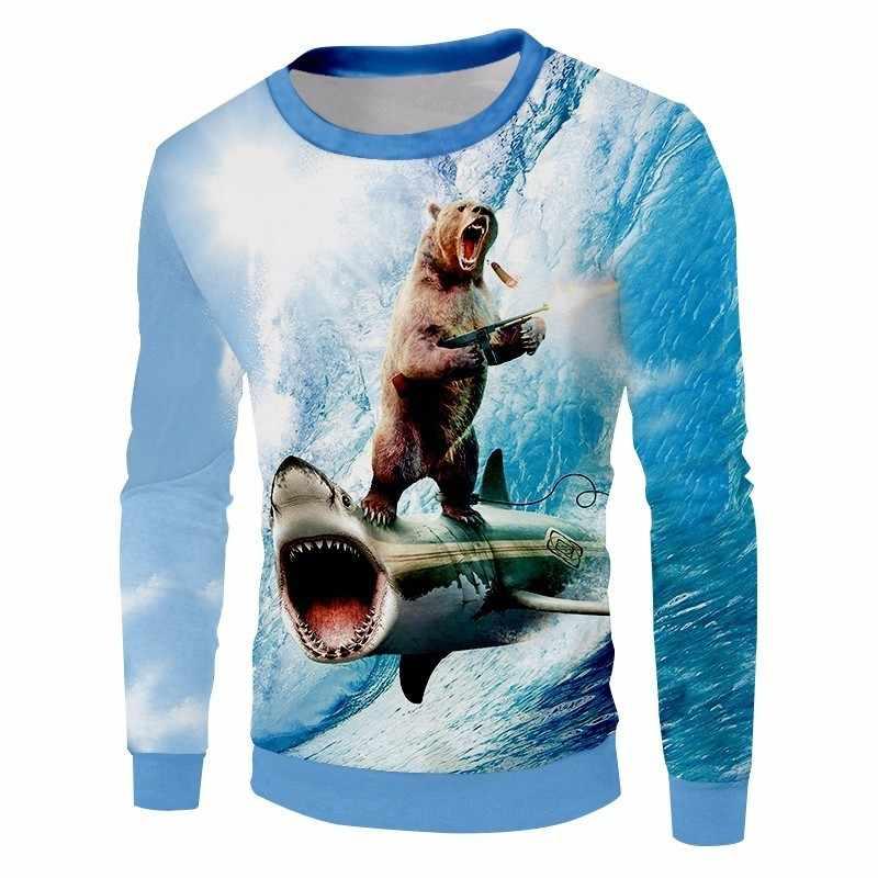 OGKB весна осень унисекс Crewneck пуловеры для женщин для/для мужчин Забавный принт Акула 3D Толстовка животных медведь толстовки Быстросохнущий полиэстер