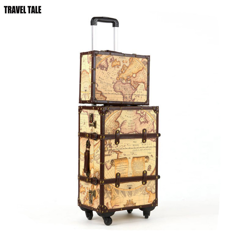 TRAVEL TALE 20 22 24 bavul valiz earth map koffers trolleys vintage luggage set retro suitcase