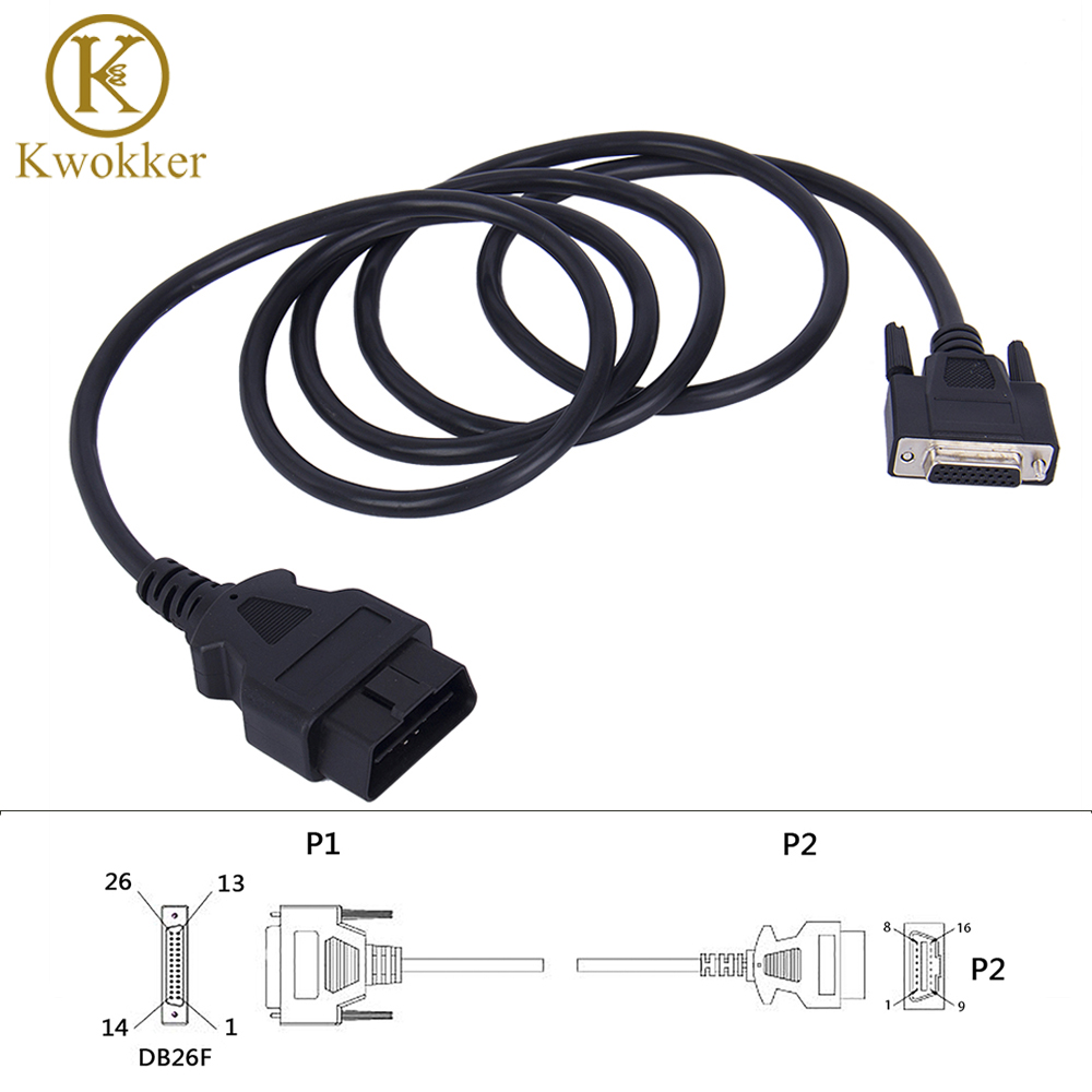 KWOKKER Universal OBD2 16Pin Male to 26Pin Female 180cm OBDII Adapter Car Connector Extension Cable Diagnostic Tool
