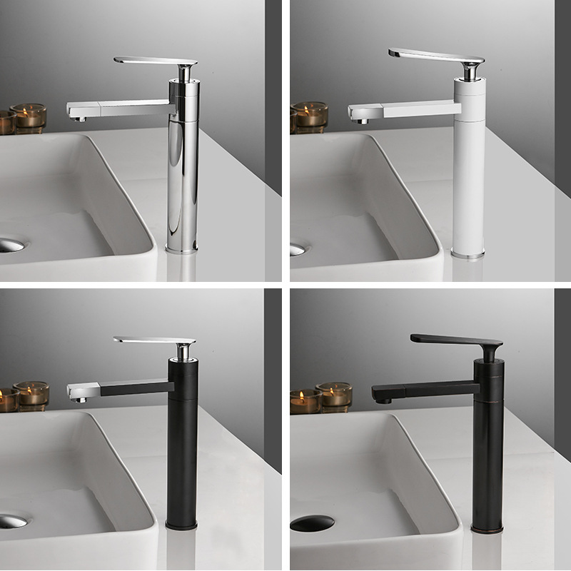 Hot and cold basin faucet 360 degree outlet double rotation long faucet