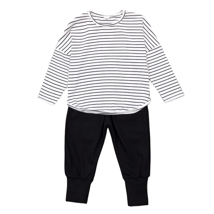 2018 spring new Childrens clothes boys cloth long sleeve Cotton sports suit child striped T-shirt + foot trousers two pscs sets