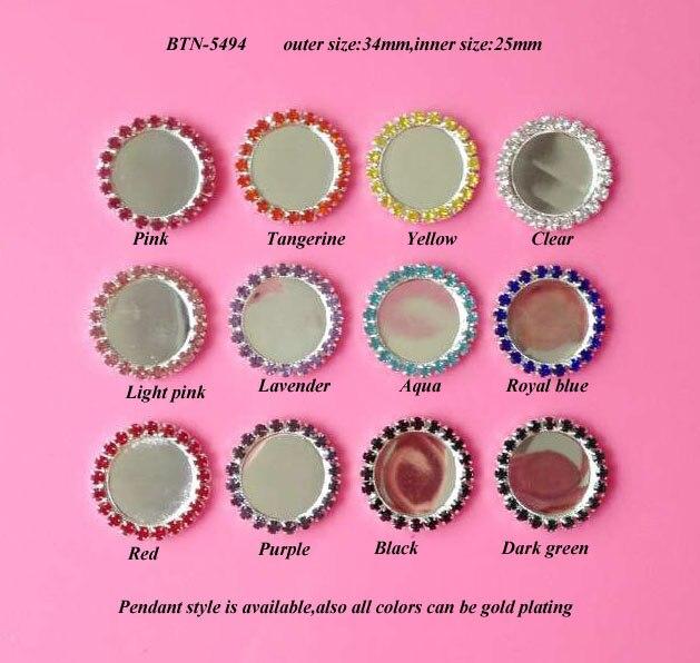 BTN-5494 Free Shipping 20PCS/Lot Silver Flatback Single Row Bottle Cap Set Crystal Rhinestone Button DIY Craft Inner Size 25mm