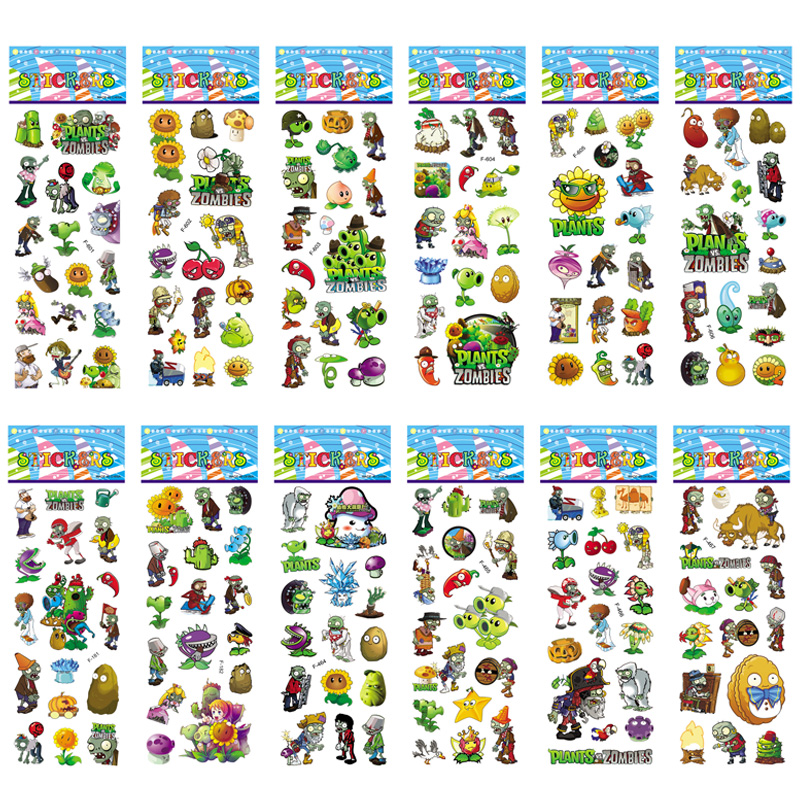 6 Sheet/lots Plants Vs Zombies Stickers 3D Cartoon Classic Toys Children Scrapbook Diary Note Book Sticker For Kids Gift