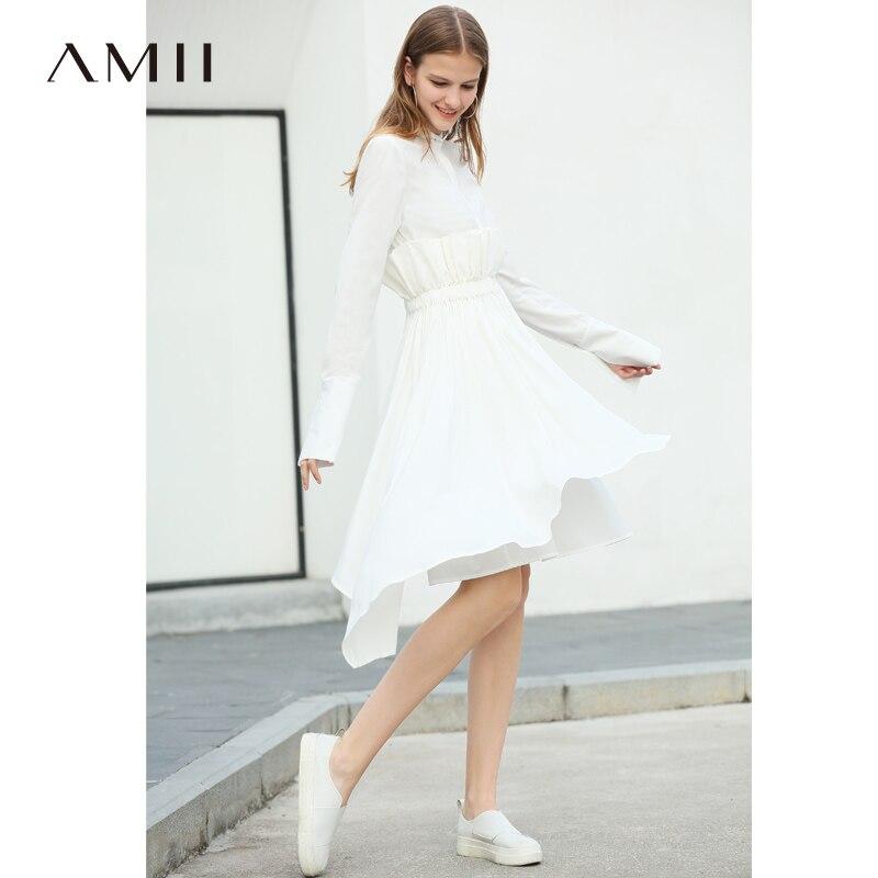 Amii minimaliste asymétrique robes femmes automne 2018 Designer marque Vintage manches longues Patchwork Empire chemise robes