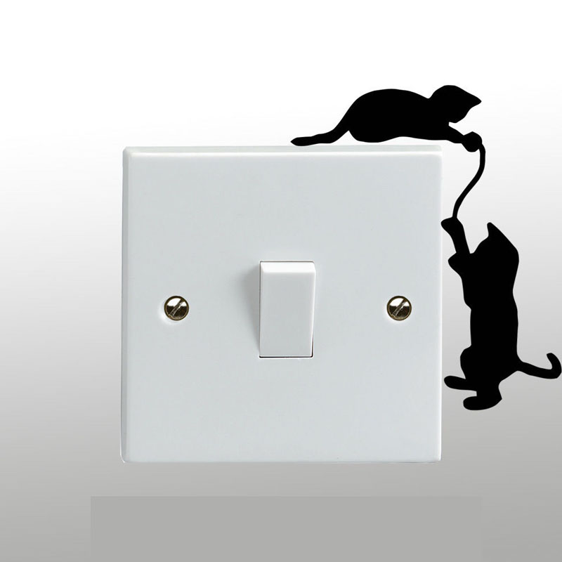 Cats Playing On A Light Switch Wall Sticker Vinyl Art Decal Any Room Decor 3SS0222 1