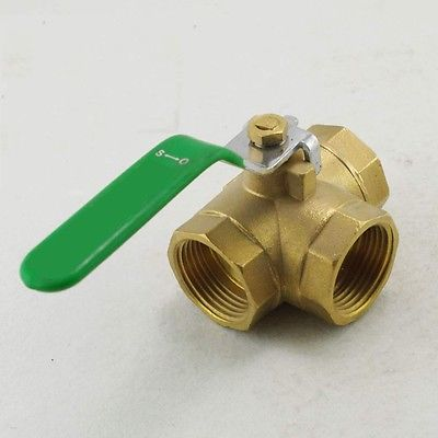 3/4 inch BSPP Female Full Ports Brass Ball Valve T-Type Three Way Connection x1 2pcs lot 1 4 bsp male full ports connection air brass thread pipe ball valve