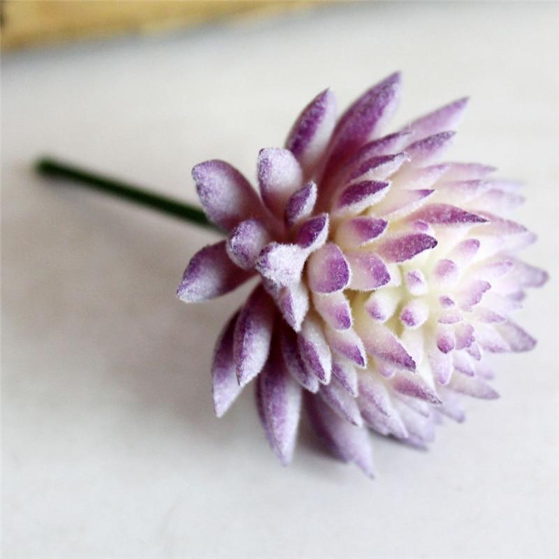 1 UNID Lithops Flores Artificiales Adornos Simulación de Loto Púrpura Artificial