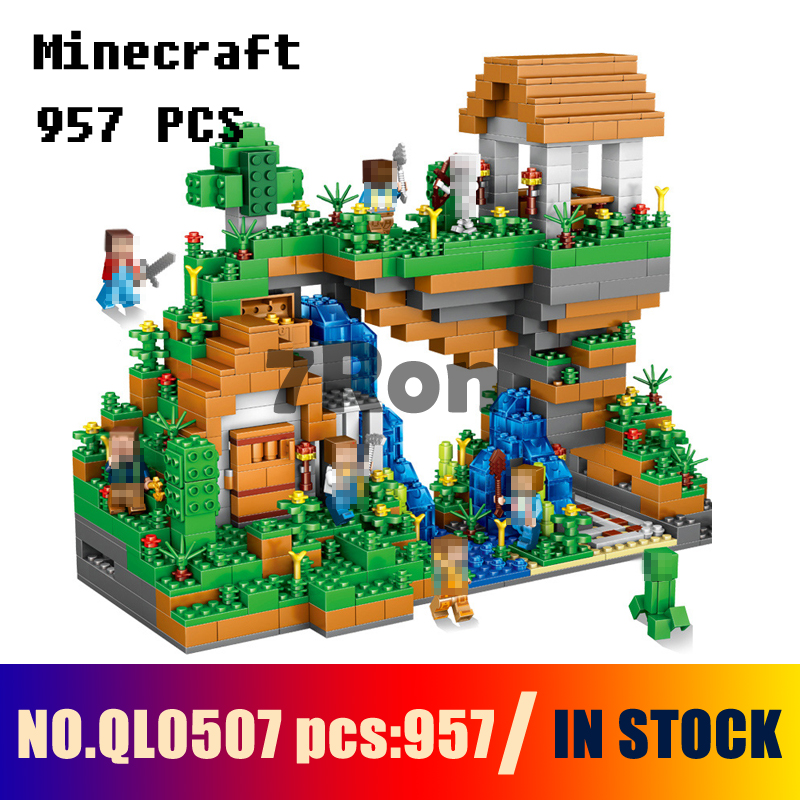Compatible with Models building toy QL0507 957pcs My World Hidden Water Falls Building Blocks toys & hobbies