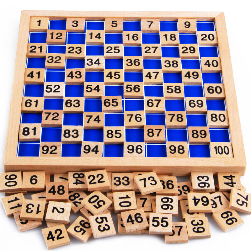 Montessori Materials Educational Wooden Toys 1-100 Digit Cognitive Math Toy Teaching Logarithm Version Kid Early Learning Gift