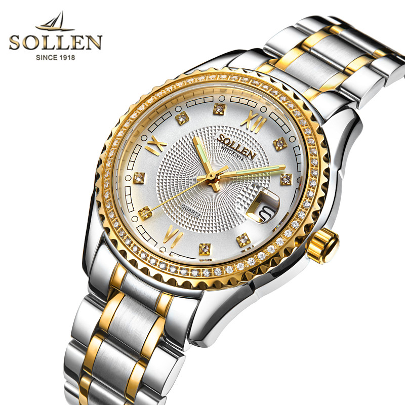 Gold Luxury Brand SOLLEN Men Watch Waterproof Mens Watches Stainless Steel Business Clock Montre Quartz Wristwatch Montre Homme rosra fashion gold watches men stainless steel business quartz watch orologio uomo hour clock montre homme relogio masculino