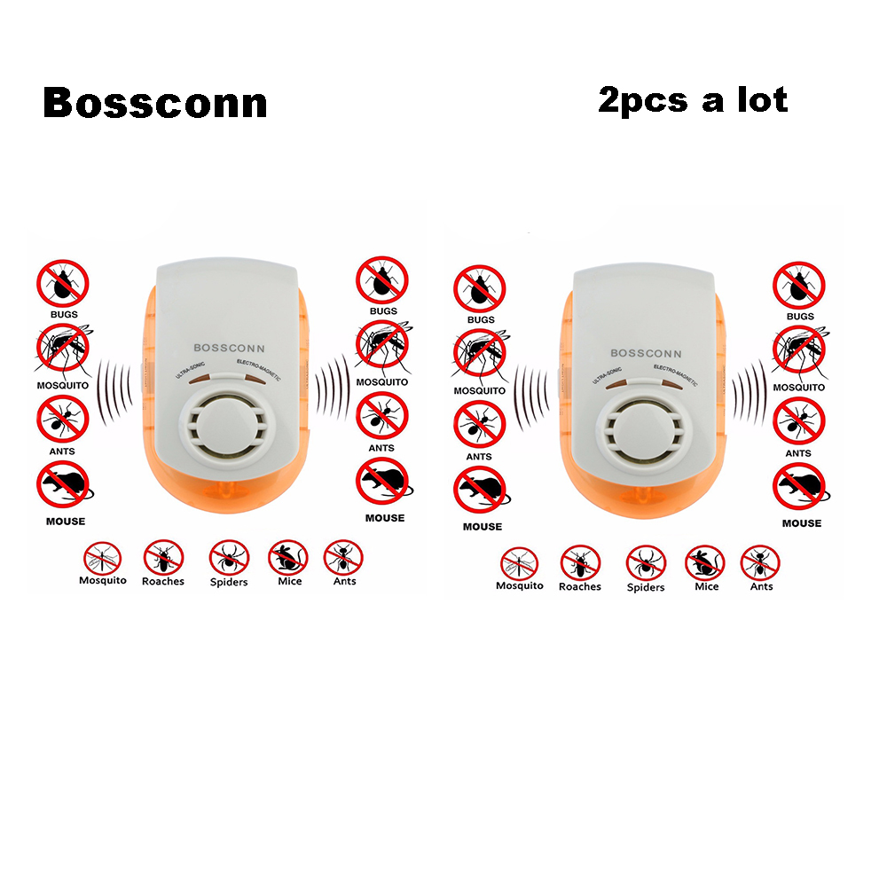 Multi-Purpose Electronic Ultrasonic Mosquito Killer Reject Bug Mosquito Cockroach Mouse Pest Reject Magnetic 2pcs a Lot