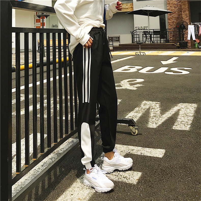 Cargo Pants Women Patchwork Long Pants High Waist Side Striped Black Trousers Student Elastic Waist Harajuku Plus Size Bottoms 60