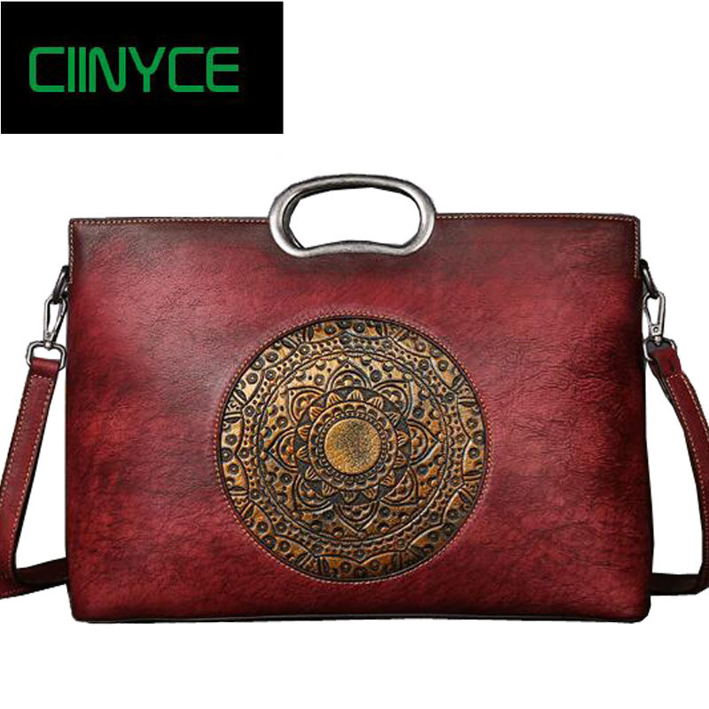 Vintage Casual Vegetable Tanned Leather Handbag Women Genuine Cow Skin Top Handle Tote Ladies Clutches Crossbody shoulder Bags women bags 2017 original design vintage top handle genuine leather rivets satchel shoulder crossbody handbag big tote