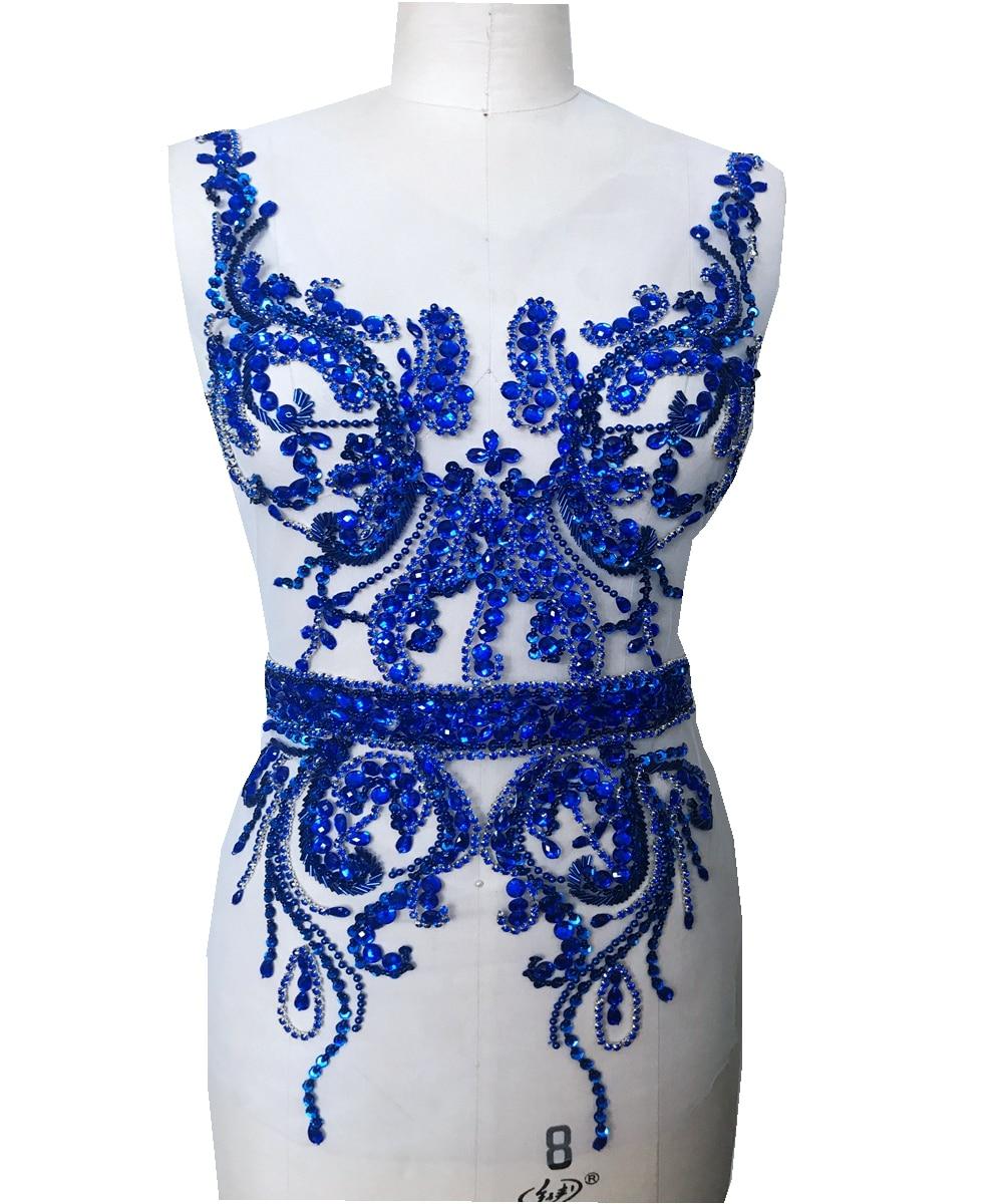 Patchs de strass faits à la main perles multicolores appliques de paillettes pour accessoire de robe de mariée 60*36 cm
