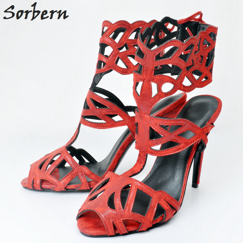 Sorbern Red Women Sandals Plus Size Sandalias Mujer Sandalias Mujer Designer Shoes Women Luxury Sandales Femmes Red Large Size sorbern plus women sandals deep purple zipper spike heels sandalias mujer 2017 summer shoes women large size shoes women 43